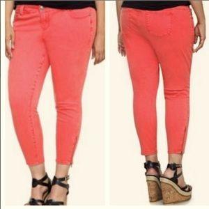 Torrid coral stiletto ankle zip jeans